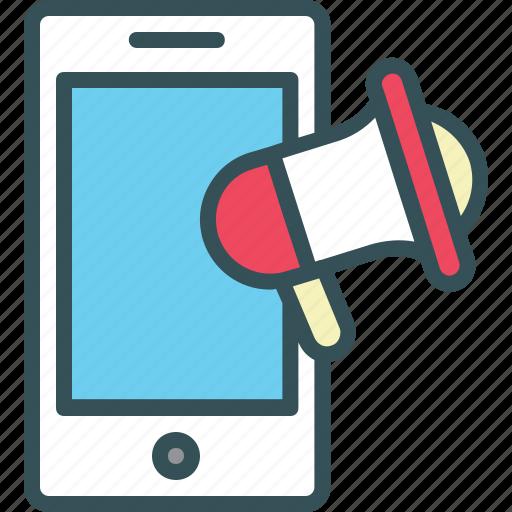 advertising, loudspeaker, marketing, megaphone, mobile icon