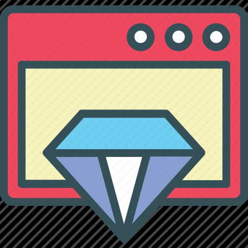 browser, value, website, window. diamond icon