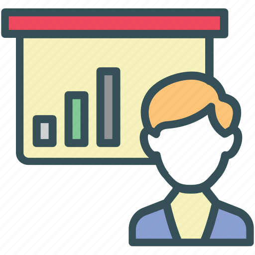 bar, chart, presentation, sales, training icon