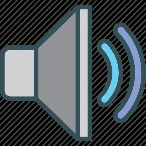 audio, half, sound, volume, volumeon icon