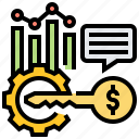 analysis, chart, key, statistic, success icon