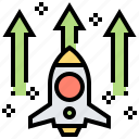 growth, launch, rocket, startup, target