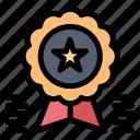 achievement, award, badge, medal, ribbon