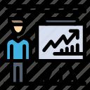 business, businessman, man, presentation, report icon
