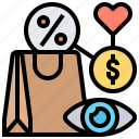 behavior, consumer, decision, monitor, shopping icon