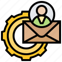 automation, customers, email, service, setup icon