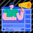 advertising, communication, content, marketing, promotion, seo, vdo icon
