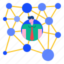 business, communication, connection, network, networking, web icon