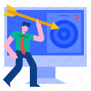 arrow, management, marketing, strategy, success, target icon