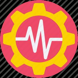 cog, cogwheel, gear, lifeline, pulsation icon