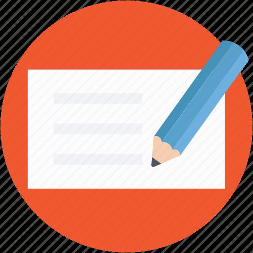 cheque signing, pen, receipt, signature, voucher icon