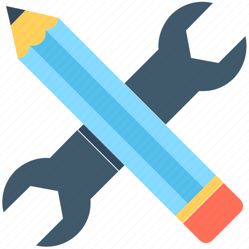 creativity, customize, designing, pencil, wrench icon