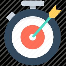 arrow hitting, dart, marketing, optimization, stopwatch icon