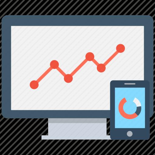 growth graph, line graph, mobile graph, online graph, pie graph icon
