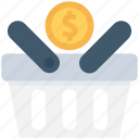 basket, dollar, dollar coin, shopping, shopping basket icon