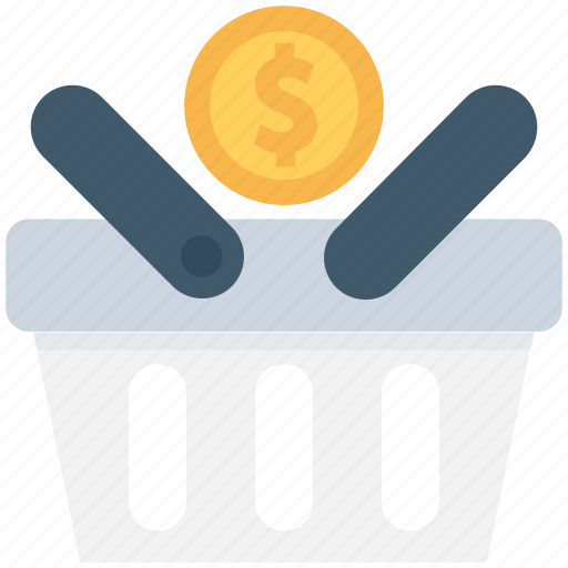 basket, dollar, dollar coin, shopping, shopping basket icon