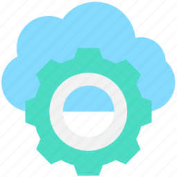 cloud maintenance, cloud repair service, cloud settings, cog, network settings icon