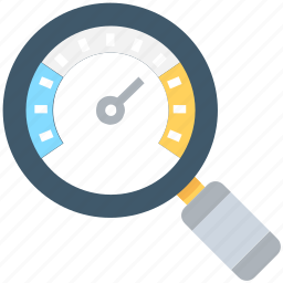 dashboard, magnifier, optimization, seo performance, speedometer icon
