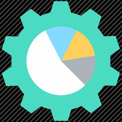 analytics, cog, cogwheel, pie chart, strategy icon