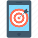 dartboard, mobile, mobile marketing, objective, smartphone icon