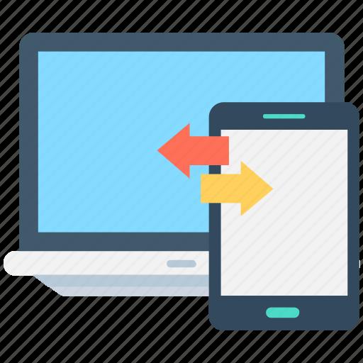 arrows, data exchange, data share, laptop, mobile icon
