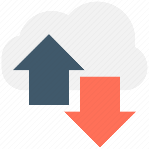 arrows, cloud computing, cloud downloading, cloud sharing, cloud uploading icon