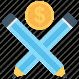 accounts, banking, dollar, lead pencils, pencils icon