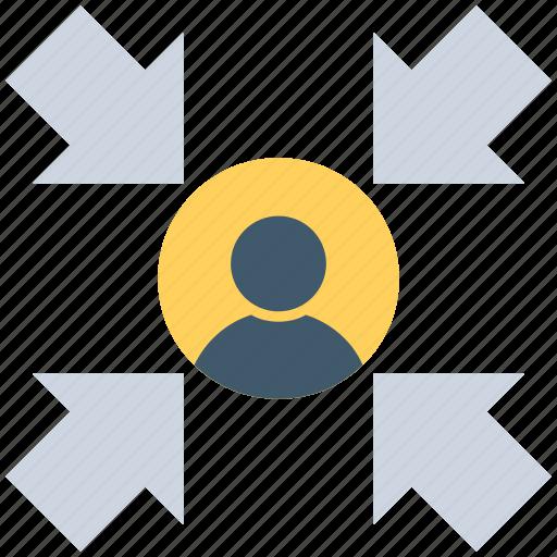 arrows, social community, user, user arrow, user target icon