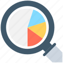 analytics, infographics, pie graph, search graph, statistics icon