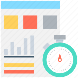 bar graph, business report, business stat, chronometer, stopwatch icon