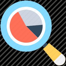 analytics, infographics, pie graph, search graph, statistics icon