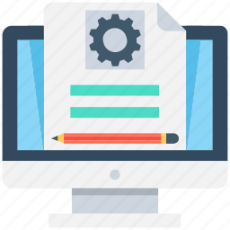compose, lcd, monitor, online document, settings icon