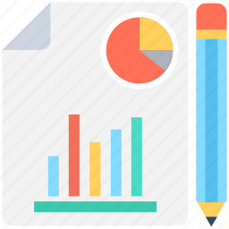 bar graph, business report, graph report, pie graph, report icon