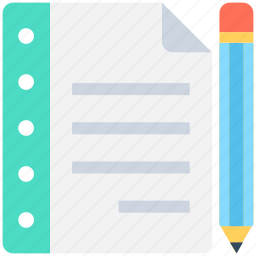 diary, log pad, notepad, pencil, writing icon