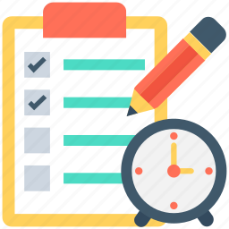 business plan, checklist, pencil, strategy, time icon