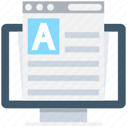 article, monitor, online document, sheet, text document icon