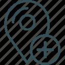 gps, location, marker, navigation, plus icon