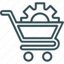 cart, cog, shoping, trolly cog on trolly icon