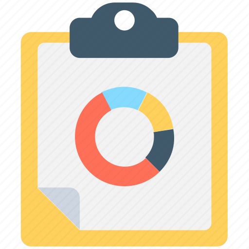 clipboard, finance, graph report, pie chart, pie graph icon