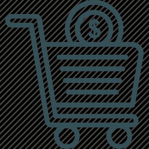 basket, cart, dollar, shopping, shopping cart icon