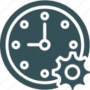clock, cog, date, setting, time icon