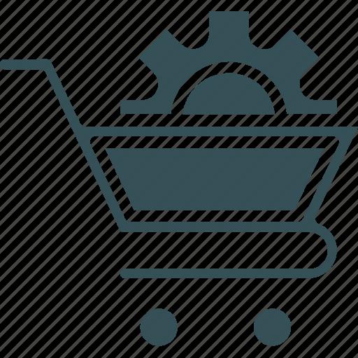 cart, cog, shoping, trolly cog on trolly icon