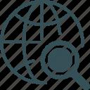 globe, internet, megnifire, monitor, search icon