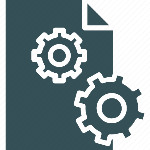 cogs, document, paper, setting, sheet icon