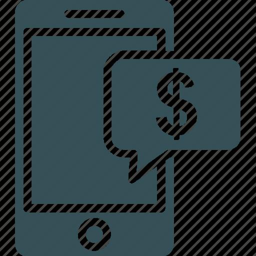 dollar, marketing on mobile, mobile, mobile phone, money icon