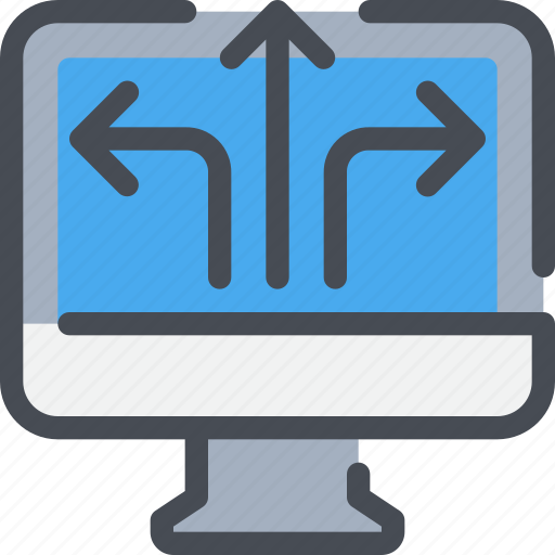 arrow, business, computer, solution icon