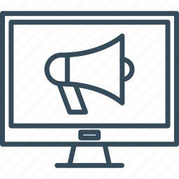 bullhorn, computer, marketing, media, megaphone, promotion, social icon