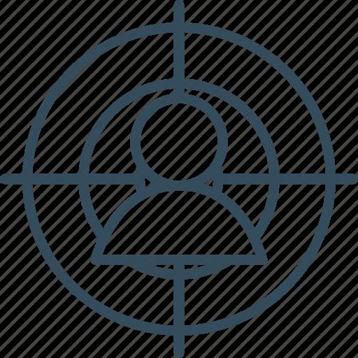 customer, human, management, marketing, people, target, targeting icon