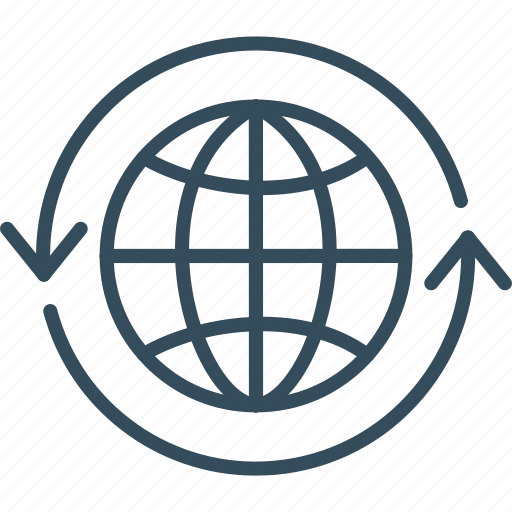arrow, business, global, globe, web, world, worldwide icon