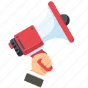 advertisement, advertising, hand, loudspeaker, megaphone icon